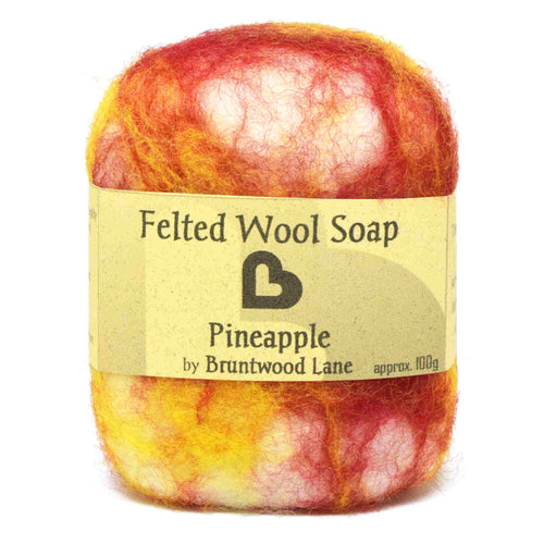 exfoliating felted wool soap - pineapple