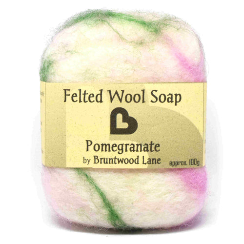 exfoliating felted wool soap - pomegranate
