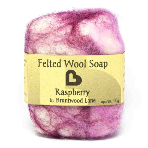 exfoliating felted wool soap - raspberry