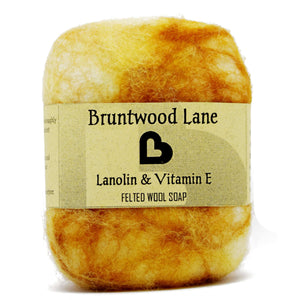 Exfoliating felted soap by Bruntwood Lane - Lanolin & Vitamin e