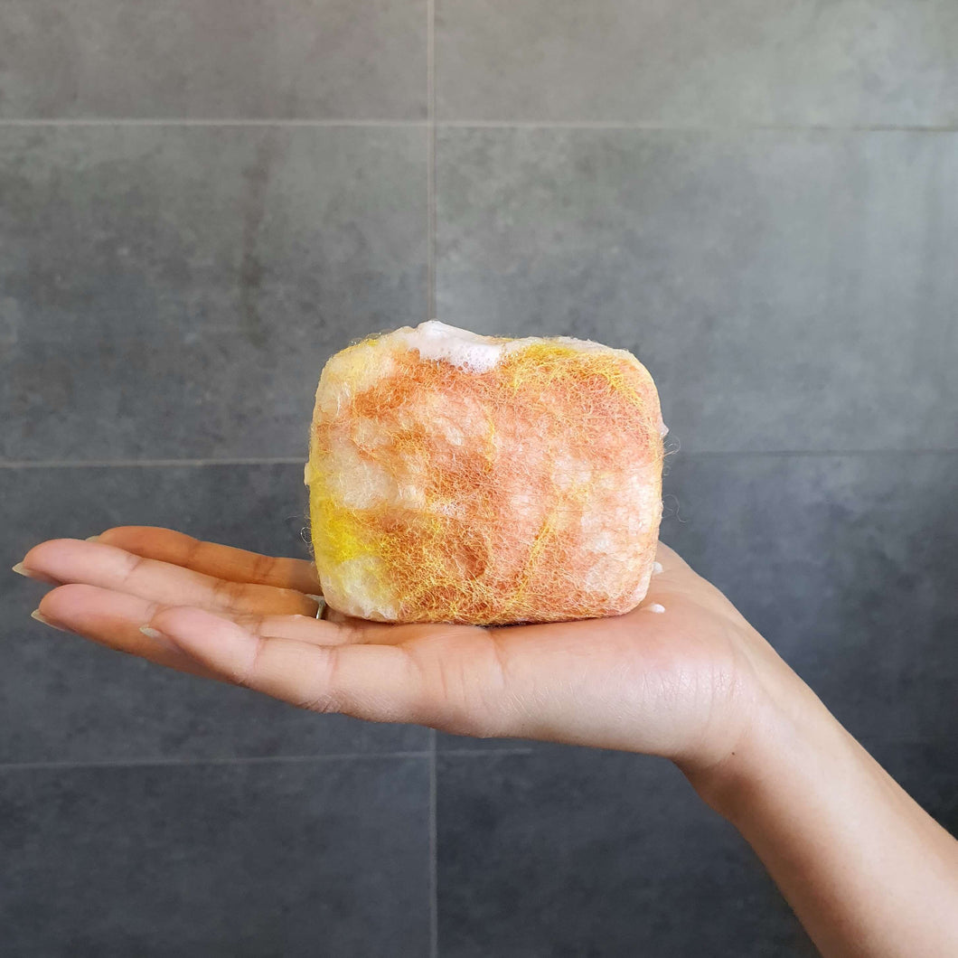 Exfoliating felted soap by Bruntwood Lane - Mango Butter