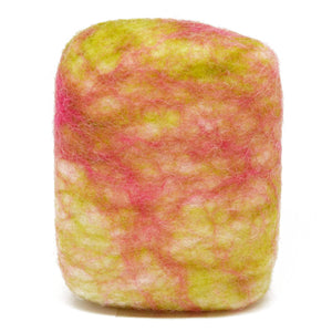 Exfoliating felted soap by Bruntwood Lane - Melon and Strawberry (standing)