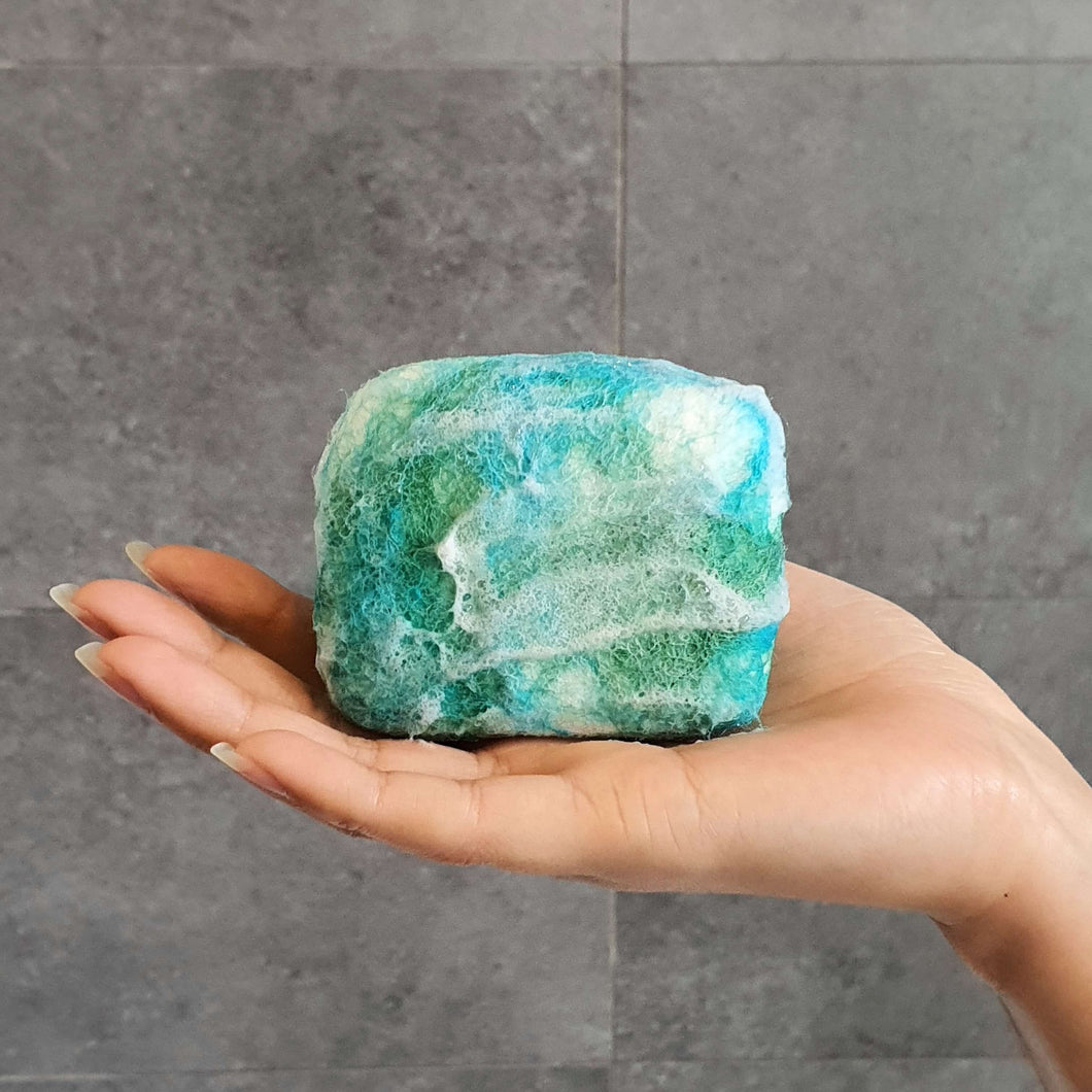 Natural exfoliating felted soap by Bruntwood Lane - Ocean