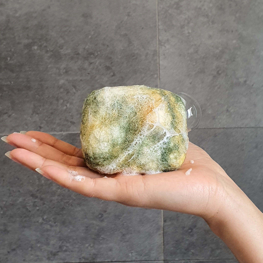 Natural exfoliating felted soap by Bruntwood Lane - Olive Oil and cocoa butter