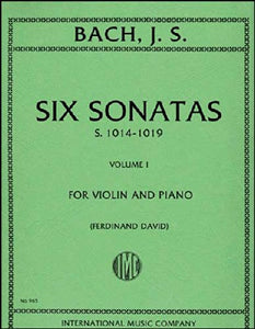 Bach Six Sonatas Vol. 1 for Violin with Piano Accompaniment International Edition [product type] Luscombe Music - Luscombe Music