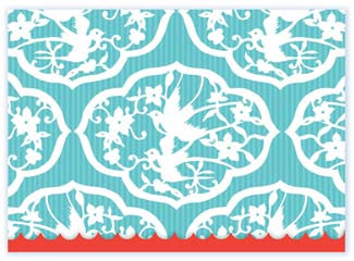 B117 Boxed cards - White Bird Pattern