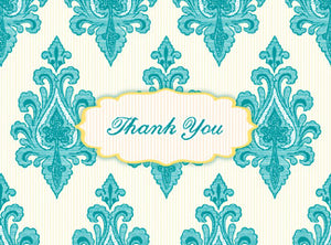 B119 Boxed cards - Thank You - Turquoise and Yellow