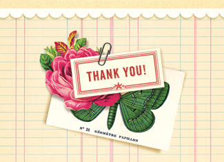 B128 Boxed cards - Thank You! - Papillon and Flower