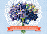 B129 Boxed cards - Thank You So Much! Hydrangea Bouquet