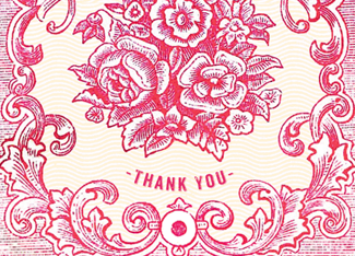 B137 Boxed cards - Thank You - Red
