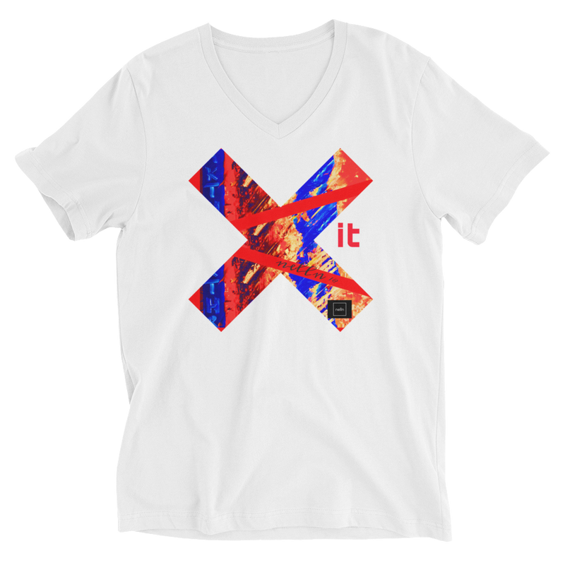 Exit- Unisex Short Sleeve V-Neck T-Shirt