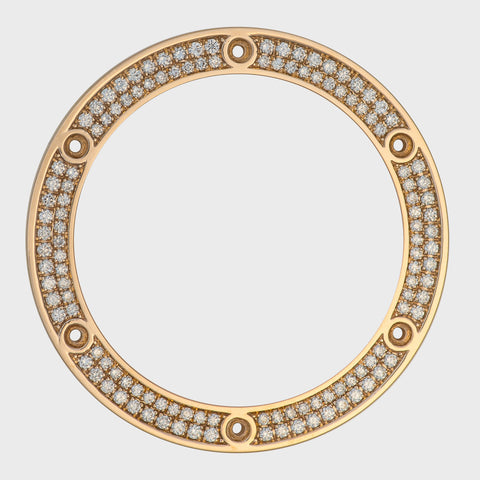 1.25Ct Two Row Bead/Pave Set 44mm, Rose Gold