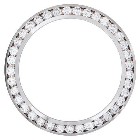 3.00Ct Mid Size 31mm Channel Set Diamond Bezel, White Alloy/Steel