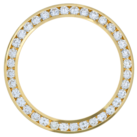 2.00Ct Mid Size 31mm Channel Set Diamond Bezel, Yellow Gold