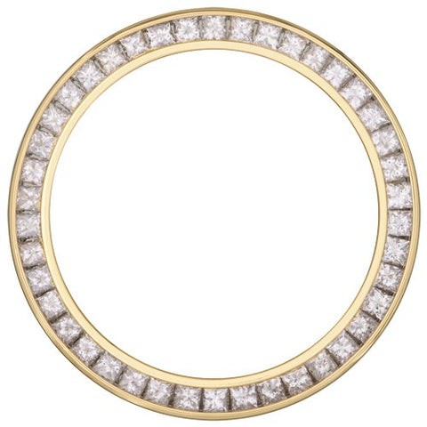 2.00Ct Ladies 26mm Channel Set Princess Cut, Diamond Bezel, Yellow Gold