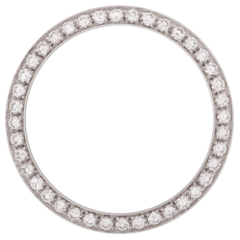 0.70Ct Ladies 24mm Bead/Pave Set Diamond Bezel, White Alloy/Steel