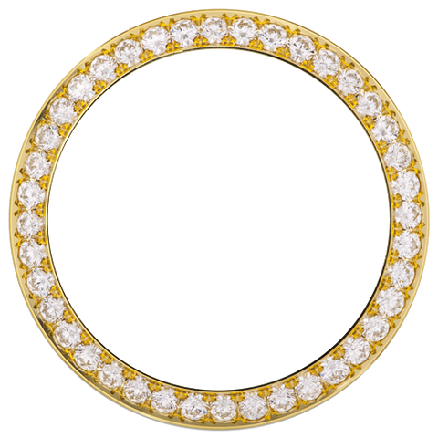 1.10Ct Mid Size 31mm Bead/Pave Set Diamond Bezel, Yellow Gold