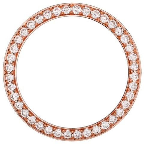 0.70Ct Ladies 24mm Bead/Pave Set Diamond Bezel, Rose Gold