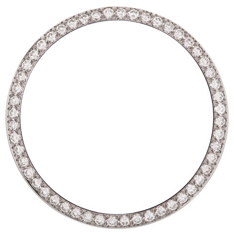 1.50Ct Ladies 26mm Bead/Pave Set Diamond Bezel, White Alloy/Steel