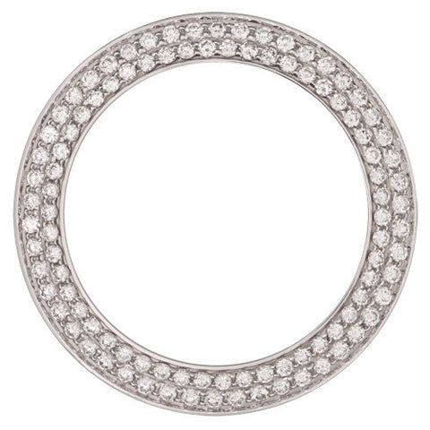 2.00Ct Two Row Bead/Pave Set Diamond Bezel, White Alloy/Steel