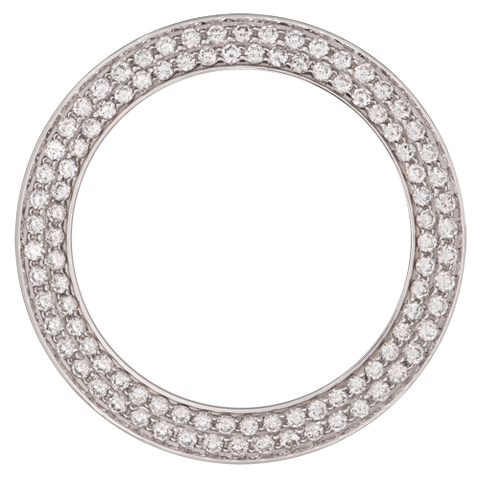 1.85Ct Mid Size 31mm Two Row Bead/Pave Set Diamond Bezel, White Gold