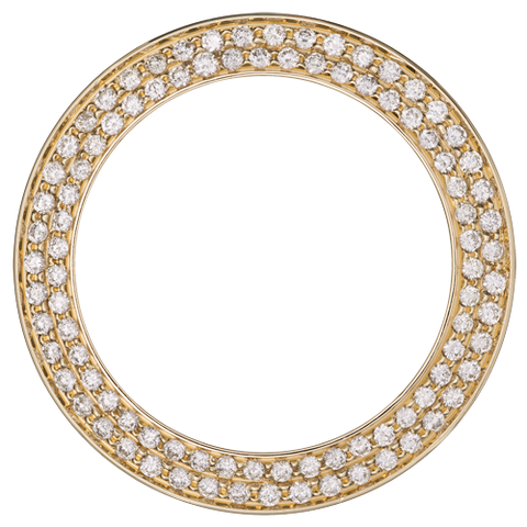 1.85Ct Mid Size 31mm Two Row Bead/Pave Set Diamond Bezel, Yellow Gold
