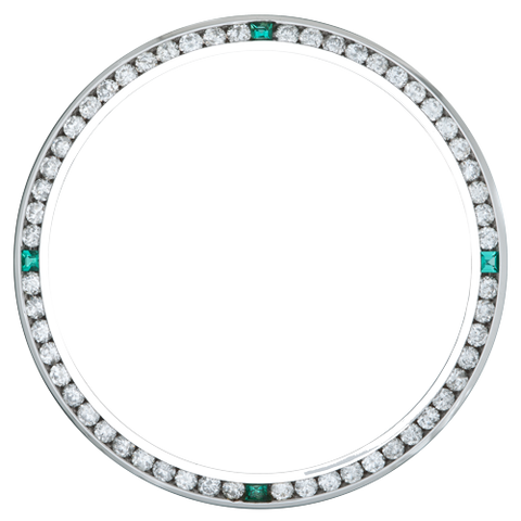 1.50Ct Date Just 36mm Channel Set Diamond Bezel, Four Chatan Stones, White Gold