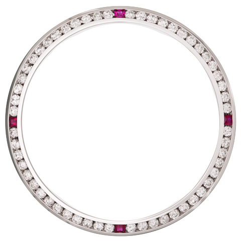 1.50Ct Date Just 36mm Channel Set Diamond Bezel, Four Ruby Stones, White Gold