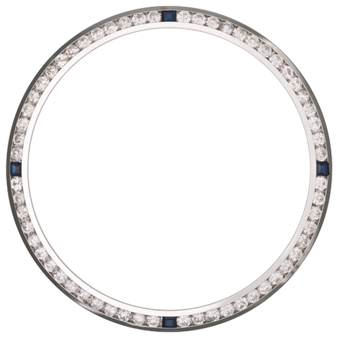 1.50Ct Date Just 36mm Channel Set Diamond Bezel, Four Sapphire Stones, White Gold