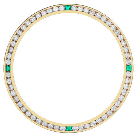 0.90Ct Ladies 26mm Channel Set Diamond Bezel, Four Chatan Stones, Yellow Gold