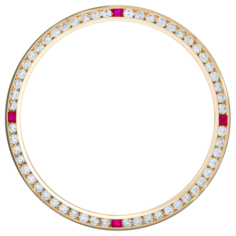 0.90Ct Ladies 26mm Channel Set Diamond Bezel, Four Ruby Stones, Yellow Gold