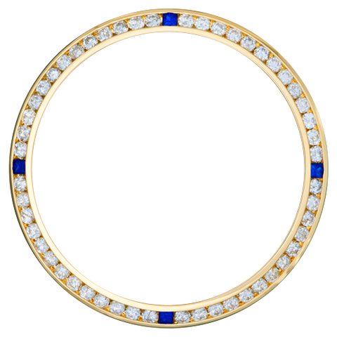 0.90Ct Ladies 26mm Channel Set Diamond Bezel, Four Sapphire Stones, Yellow Gold