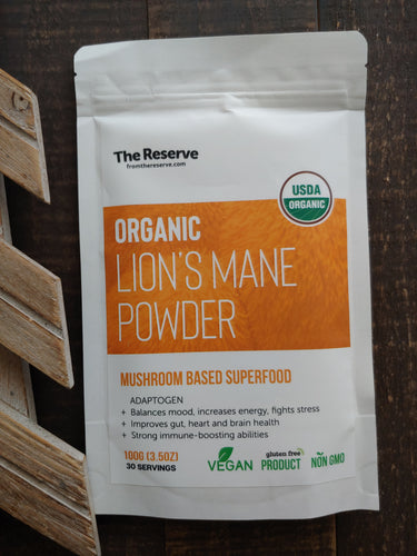 Lion's Mane Powder, Organic ll Smoothies + Superfood ll Adaptogen ll Mood + Fights Stress ll Gut + Heart Health ll Immune Boosting