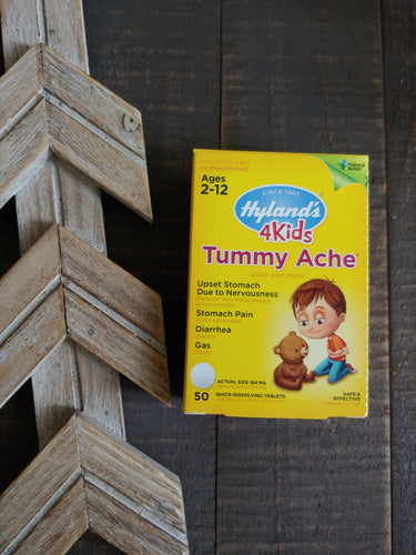 4 Kids Tummy Ache Quick Dissolving Tablets ll Hylands, 50 Tablets - SimplyGinger
