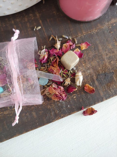 Car Incense + Herb Sachet ll Gemstone Bag