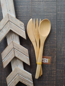 TO-GO WARE REUSABLE BAMBOO FORK, KNIFE & SPOON SET