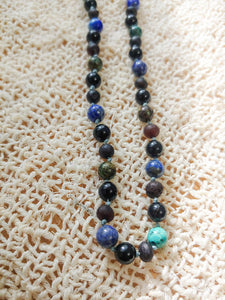 Obsidian, African Turquoise, Lapis Lazuli,  + Raw Cherry Baltic Amber Teething Necklace