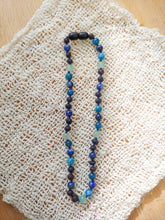 Blue Apatite, Lapis Lazuli, Green Aventurine + Raw Cherry Baltic Amber Teething Necklace