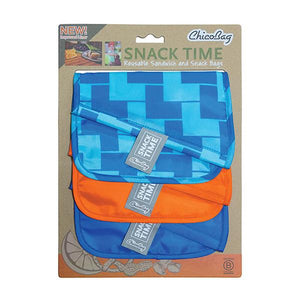 "CHICOBAG BLUE & ORANGE BLUE LADDER REUSABLE POLYESTER SNACK BAGS 6 1/2"" X 9 1/2"" - SimplyGinger"