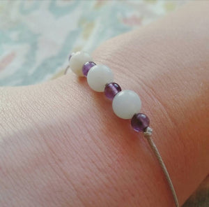 Amazonite and Amethyst Healing Stone Bracelet - Adjustable - 3 and 6 Inch Beads - SimplyGinger