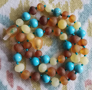 Raw Turquoise + Tri - Color Baltic Amber Necklace ll Teething ll Drooling ll Arthritis + More. - SimplyGinger