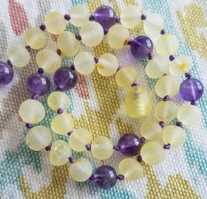Amethyst + Raw Lemon Baltic Amber Teething Necklace ll Calming ll Pain - SimplyGinger
