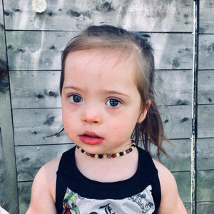 Amethyst and Honey, Black, and Buttermilk Baltic Amber Teething Necklace - SimplyGinger
