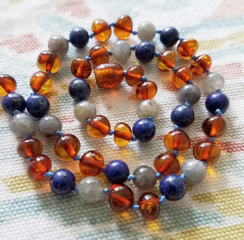 Labradorite, Lapis Lazuli + Polished Baltic Amber Teething Necklace - SimplyGinger