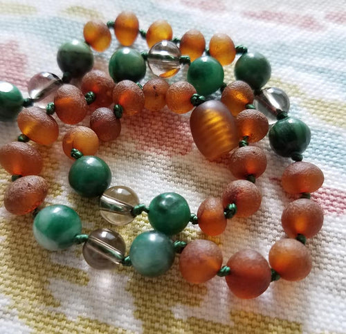 African Jade and Smoky Quartz + Raw  Cognac Baltic Amber Teething Necklace - SimplyGinger