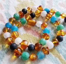 Fluorescence Agate + Polished Honey Baltic Amber Necklace ( Blue, Green, White ) - SimplyGinger