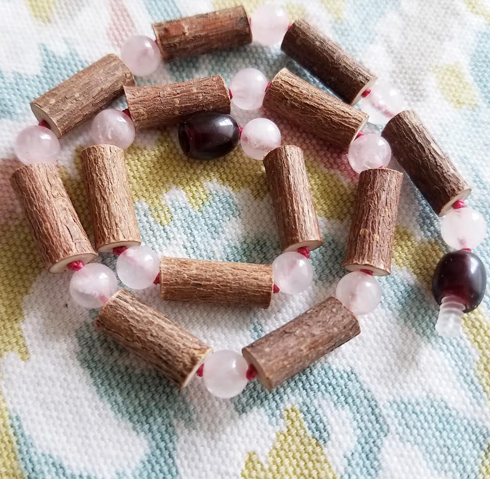 Hazelwood + Rose Quartz Necklace 12.5 inch - SimplyGinger