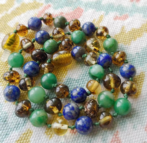 African Jade and Lapis Lazuli  + Polished Green Baltic Amber Necklace - SimplyGinger