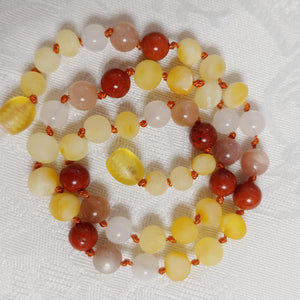 Red Jasper, Moonstone, Sunstone + Raw Lemon Baltic Amber Necklace ll Teething ll Calming ll Pain