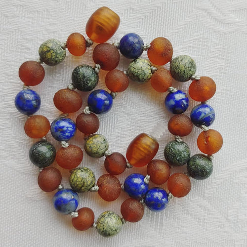 Green Lace Agate and Lapis Lazuli + Raw Cognac Baltic Amber Necklace ll Teething